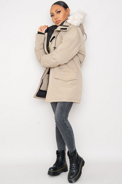 Get Ready Beige Hooded Jacket