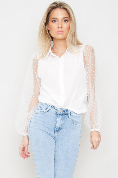 Balloon Sleeved Mesh Shirt - Odessa White