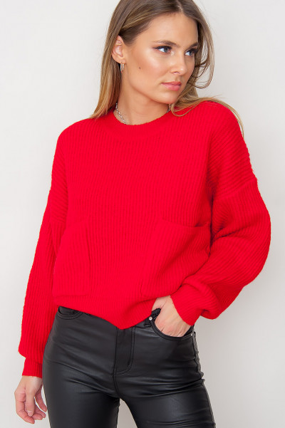 Cosy Knitted Jumper - Zoel Red