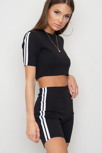 Side Stripe Co-Ord Set - Addy Black