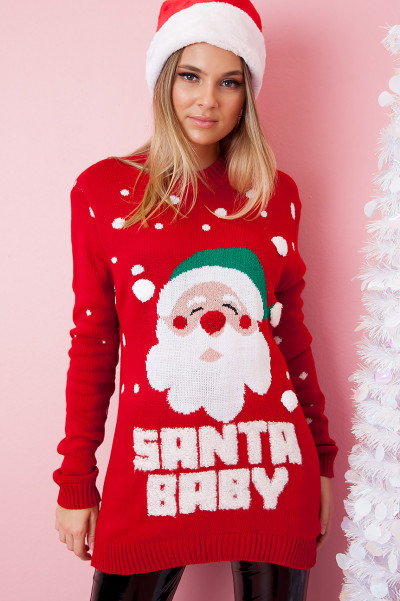 Christmas Sweater - Santa Baby Red