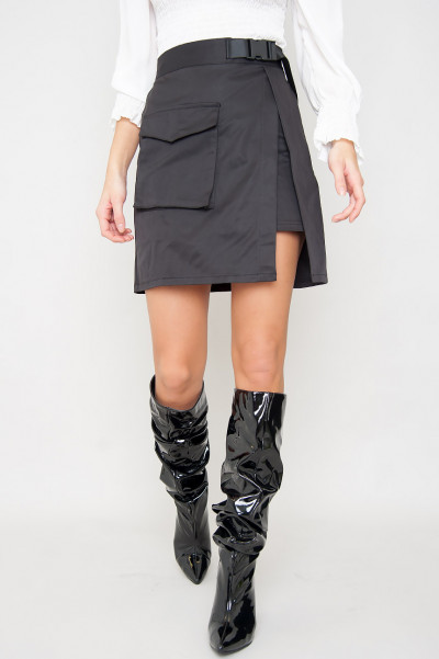 Cargo Buckle Skirt - Tank Black