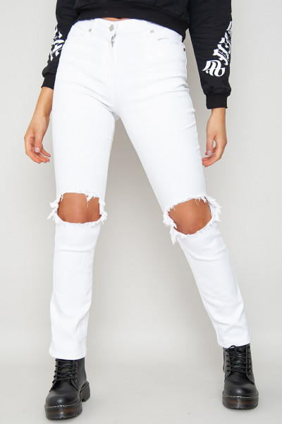 White All Ripped Straight Leg Jeans