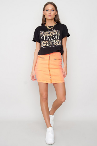 Denim Zip Front Skirt - Mila Orange