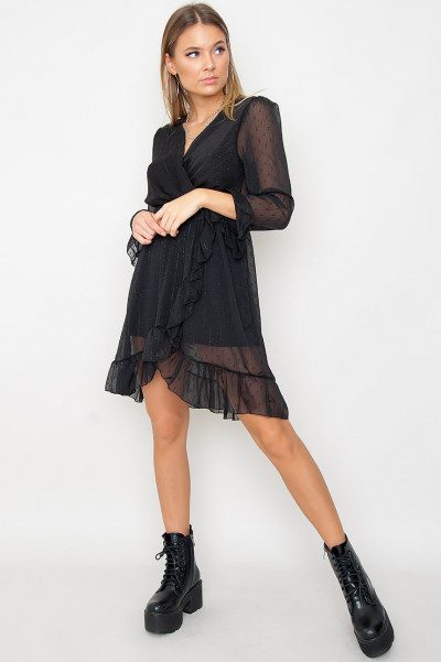 Mesh Sleeve Dress - Kerry Black