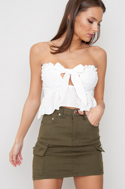 Broderie Lace Tie Front Top - Aline White