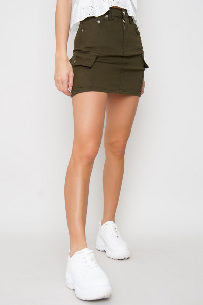 Cargo Denim Skirt - Nova Khaki