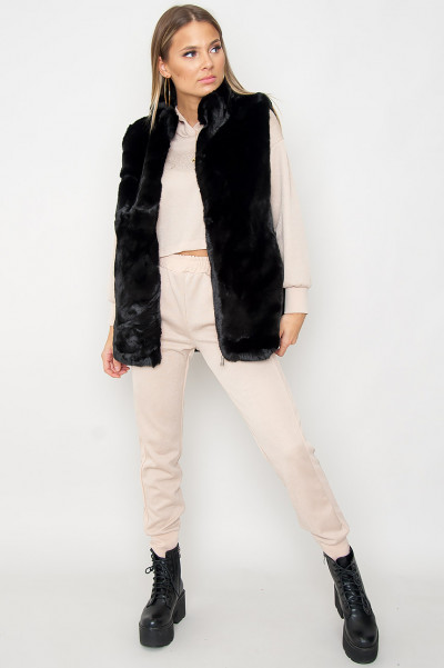 Feel Like Dancing Faux Fur Vest Black