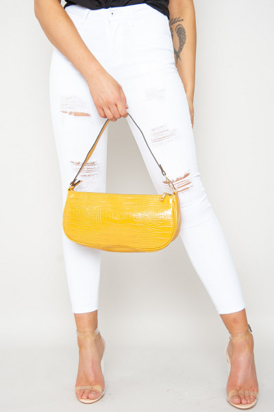 Vegan Leather Croc Print Bag Mustard