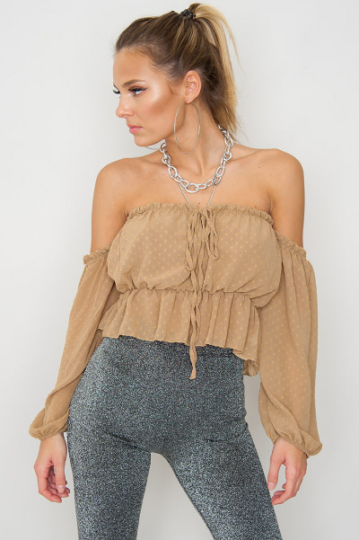 Beige Tie Front Off Shoulder Topp - Alice