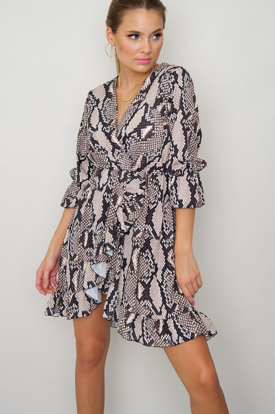 Snake Print Long Sleeve Dress - Kamari