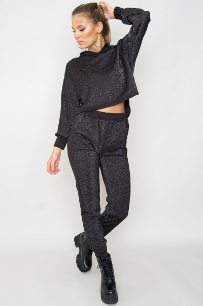 Svart Hoodie & Shorts Co-Ord Set - Destiny