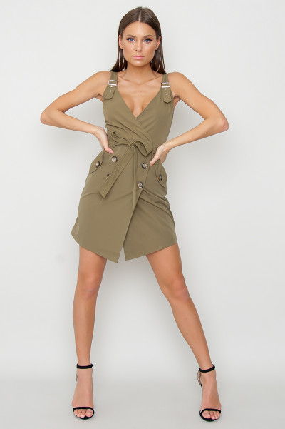 Wrapover Button Dress - Maddox Khaki