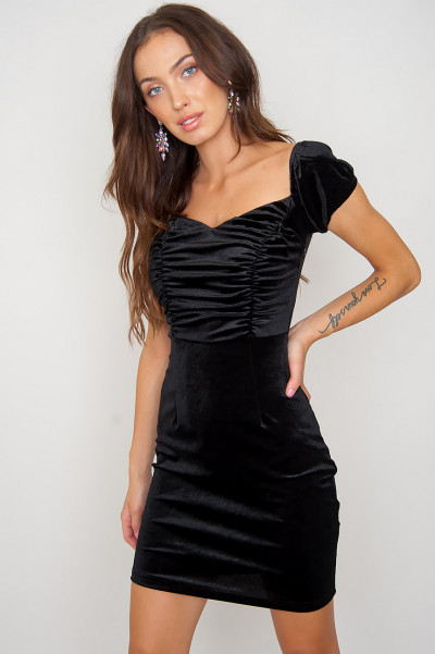 Svart Velvet Dress - Heather
