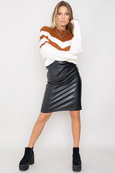 Faux Leather Zip Skirt - Eleni