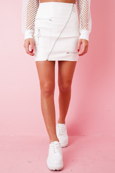 Faux Leather Skirt - Zipp White