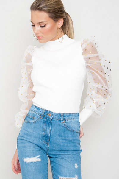 Mesh Sleeved Jumper - Cirilla White