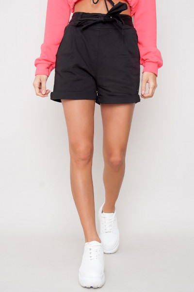 Tie Front Shorts - Yasin Black