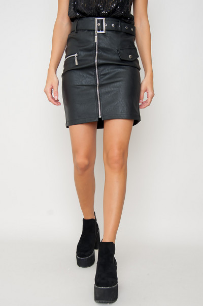 Belted Faux Leather Kjol - Chic Svart