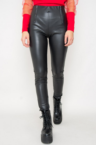 Zip Front Faux Leather Pants - Anlee