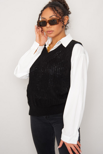 Like That Black Knitted Vest