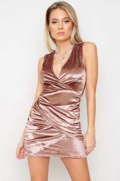 Wrapover Velvet Dress - Casey Mocha