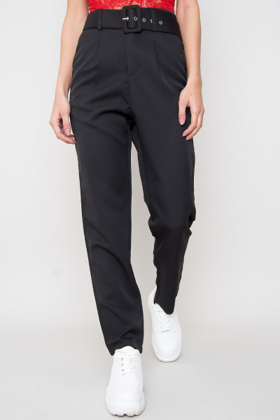High Waist Belted Trousers - Chiara Black