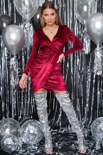 Red Velvet Wrap Front Bodycon Dress - Demi