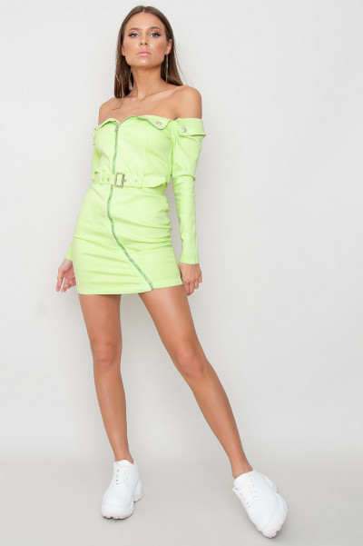 Zip Front Denim Dress - Jazzie Green