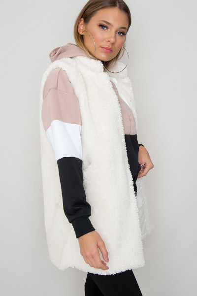 Cozy Teddy Vest - Cruz White