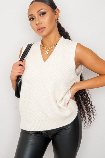 Show Me Beige Knitted Vest