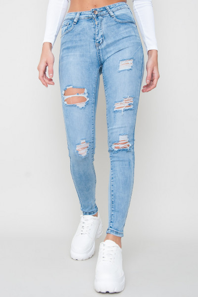 High Waisted Ripped Jeans - Sid