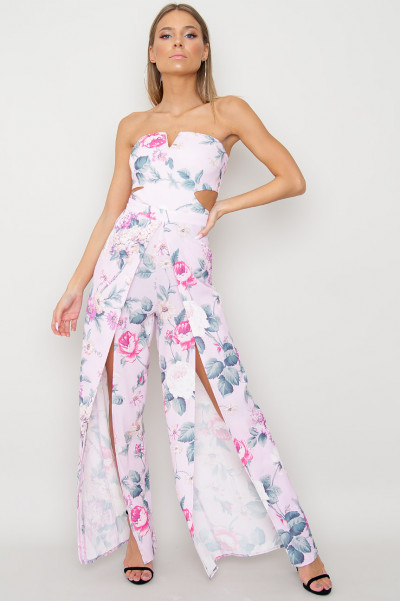 Cut Out Floral Jumpsuit - Summer