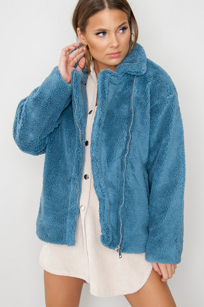Cosy Teddy Jacket - Cloudz Blue