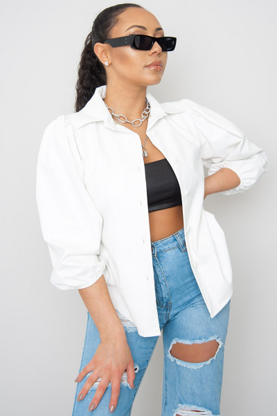 Keep It To Yourself Faux Leather Shirt White