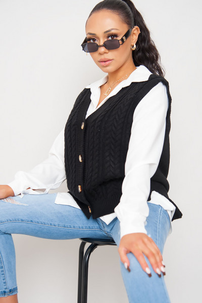 In The Street Black Knitted Vest