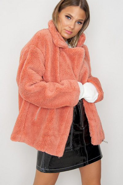 Cosy Teddy Jacket - Cloudz Coral