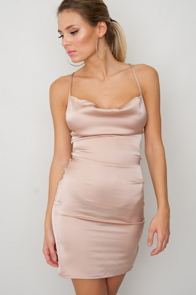 Satin Mini Dress - Sally Champagne