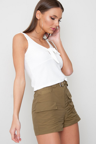 Front Tie Crop Top - Milli White
