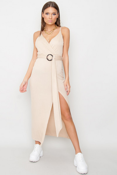 Slit Belt Dress - Athena Beige