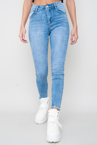 High Waisted Fringed Jeans - Rook