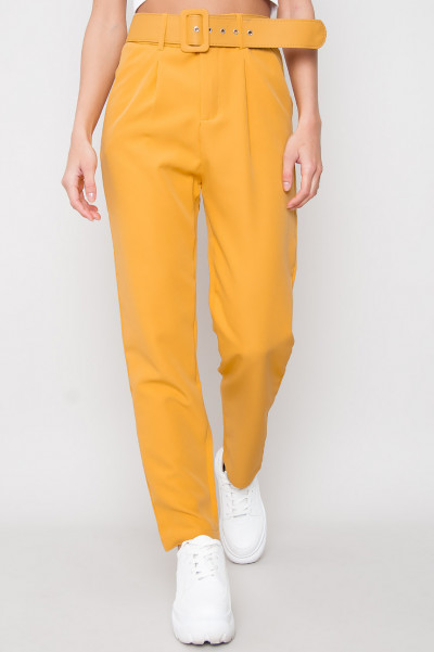 High Waist Belted Trousers - Chiara Yellow