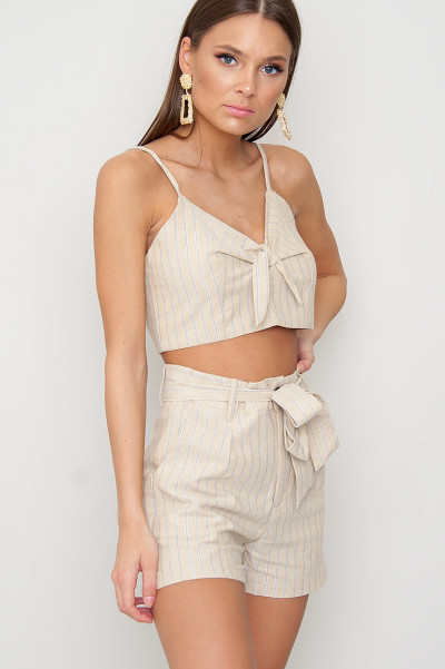 Crop Top Striped Set - Iselin Beige
