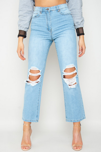 It's A Sign Ripped Mom Jeans