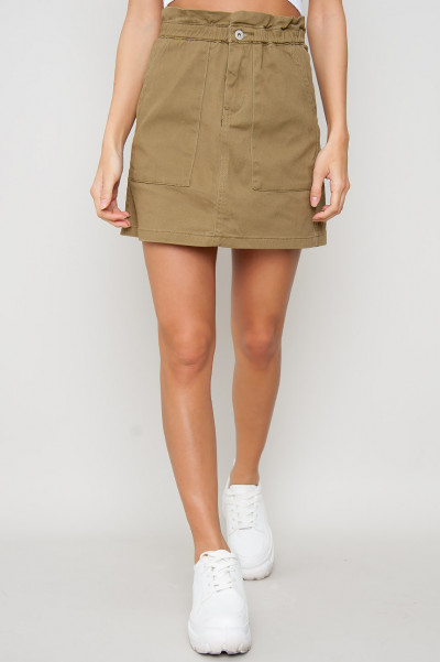 Denim Elastic Skirt - Nour Khaki