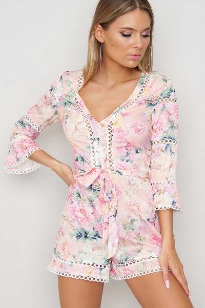 Lace Trim Floral Playsuit - Miracle