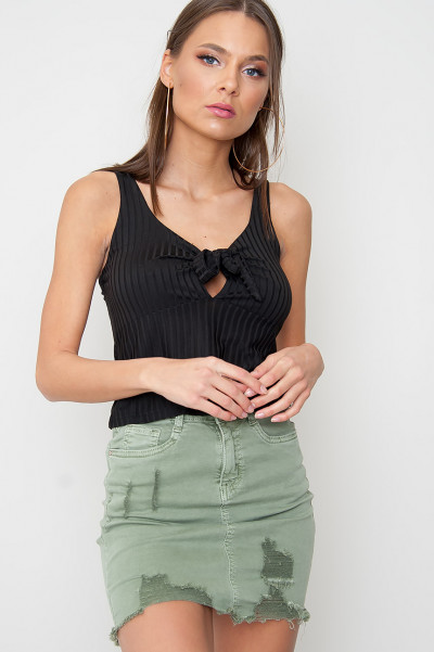 Front Tie Crop Top - Milli Black