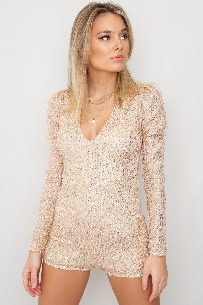 Long Sleeve Sequin Playsuit - Golden Bliss