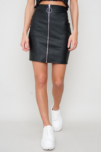 Faux Leather Skirt - Zip Avid Black
