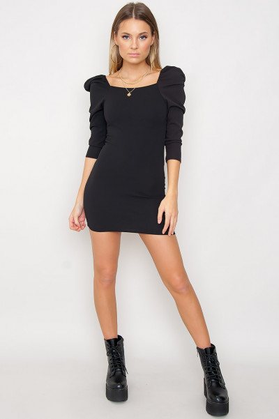 Puff Sleeve Bodycon Dress - Puffy Black